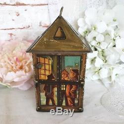 Rare Antique Christmas Lantern Tin litho box, Vintage Advertising Maison Lyons