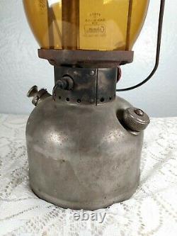 Rare Vintage 1951 Coleman Single Mantle Lantern Model 200 With Amber Pyrex Read
