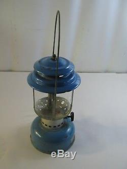 Rare Vintage 6-70 Sears Roebuck Lantern 72216 Blue Pyrex Globe Dual