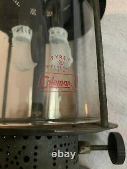 Rare Vintage Coleman Nickel Chrome Liquid Fuel Camping Lantern Double Mantle