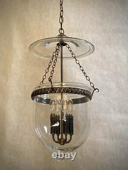 Rare Vtg Large 4-Lights Bell Jar Lantern Pendant Chandelier Brass Clear Glass