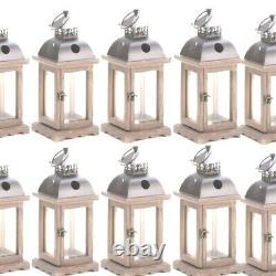 Rustic Wood Candle Lantern Candleholder 10 pc Set Wedding Centerpieces