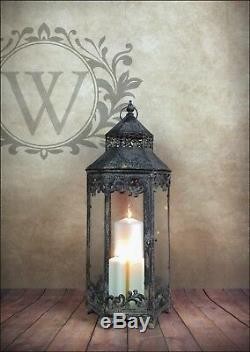 Set 3 Large Lanterns Candle Holder Indoor Outdoor French Antique Vintage Style