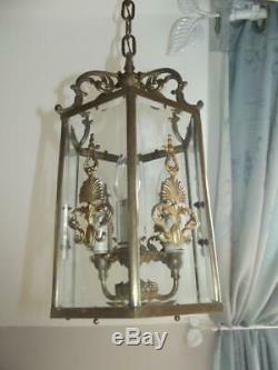 Stunning vintage French gilt metal brass porch light lantern glass chandelier