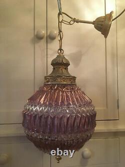 Superb Large Vintage Globe Lantern Chandelier Rewired Jewel Colours