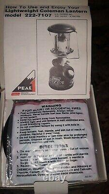 Unfired New In Box Coleman Peak 1 Model 222a Lantern With Original Box & Paper