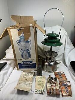 VINTAGE 237 COLEMAN LANTERN CHROME BASE/GREEN TOP with original box