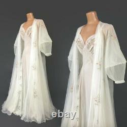 VINTAGE 50s White Sheer Chiffon Nightgown and Robe Peignoir Set Lantern Sleeves