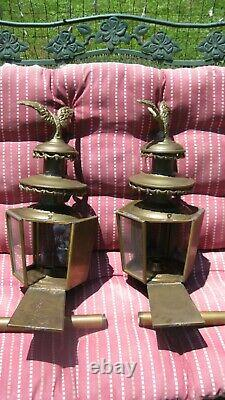 Vintage 1880's Set (2) Patriotic Brass Carriage/Coach Eagle Lanterns Patina