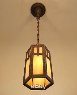 Vintage 1910 Art Craft Hanging Porch Hall Foyer Lantern Slag Glass Pendant Light