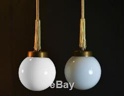 Vintage 1940s Original Art Deco Opaline glass school house Globe lantern light