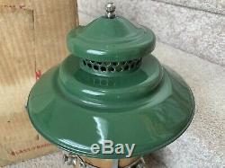 Vintage 1950 Coleman 228D Green/Nickel Lantern Dated B/50 Green Pyrex Globe Box