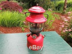 Vintage 1952 Coleman Red 200a Lantern with Sunrise Globe