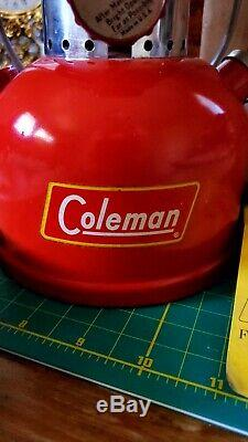 Vintage 1958 Coleman Lantern Model 200a Red Burgundy Single Mantle In Orig. Box