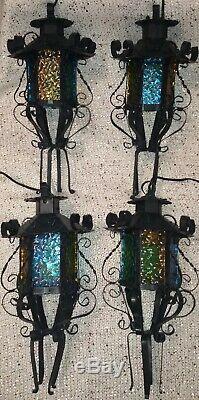 Vintage 1960s Spanish Revival Lantern Sconce Light Fixtures, Colored Glass Metal