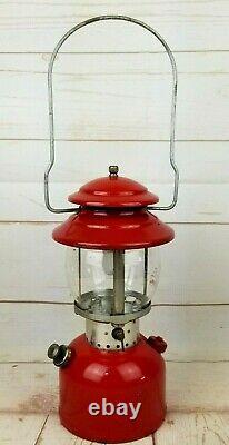 Vintage 1966 Coleman 200A Single Mantel Lantern 10/66 Red Pyrex Globe Untested