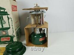 Vintage 1972 Coleman Lantern 220F Two Mantle Green 220F195 Never Fired withBox
