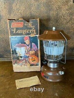 Vintage 1976 Coleman 275 Brown Dual Mantle Gas Camping Lantern w Box NICE