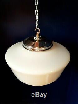 Vintage 40s art deco school house lantern light Opaline milk glass shade