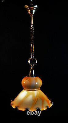 Vintage 40s art deco school house lantern light pendant Opaline milk glass shade