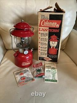 Vintage 60's Coleman Lantern 200A 1966 Red Pyrex Glass Globe. EUC. Withbox & Acces