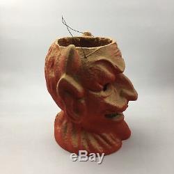 Vintage Antique 1930s Halloween Paper Mache Pulp FN Burt Devil Lantern