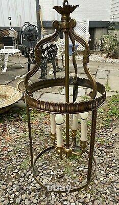 Vintage Antique Hanging Hall Lantern Chandelier Light Fixture