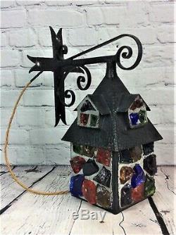 Vintage Arts & Crafts Peter Marsh Rock Glass Lantern with iron Crucifix Bracket