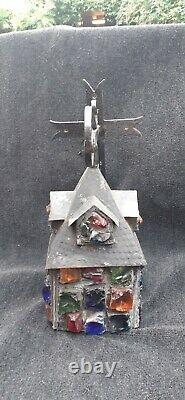 Vintage Arts & Crafts Peter Marsh Rock Glass Lantern with iron Crucifix Bracket
