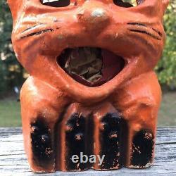 Vintage Authentic Paper Mache Cat Pumpkin Jack O Lantern Wire Bail Handle