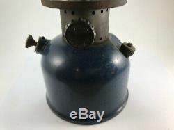 Vintage Blue Coleman Camping Lantern Model 243A! Original Glass Pyrex Globe