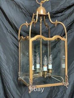 Vintage Brass Brush-Everard Style Chandelier Lantern Colonial Williamsburg Style