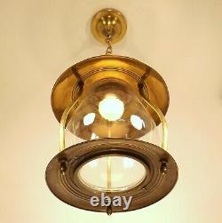 Vintage Brass Glass Porch Hall Foyer Entry Lantern Ceiling Light Fixture REWIRED