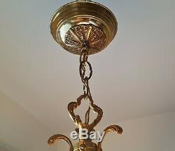 Vintage Brass Lantern Light hanging Lamp Architectural Antique Fixture Porch