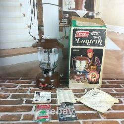 Vintage Brown Coleman 275 Double Mantle Lantern Dated 11 76 in Orig Box