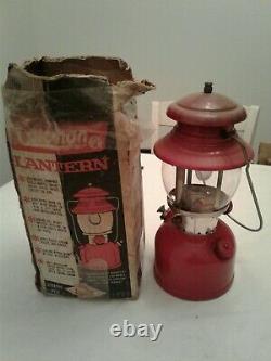 Vintage COLEMAN Single Mantle Lantern 200A Red In Original Box withMantles