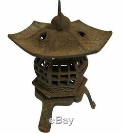 Vintage Cast Iron Pagoda Lantern Japanese Asian Tea Candle Garden