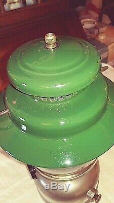 Vintage Coleman 11-68 237 Single Mantle Green And Chrome Lantern