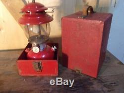Vintage Coleman 200A Lantern With Red Metal Case Instructions Extra Parts