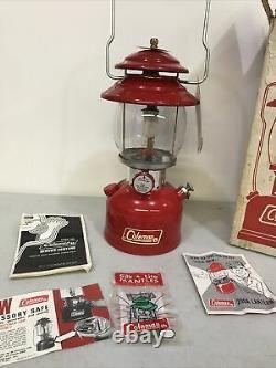 Vintage Coleman 200A Red Single Mantle Lantern withOriginal Box 8/71 very nice