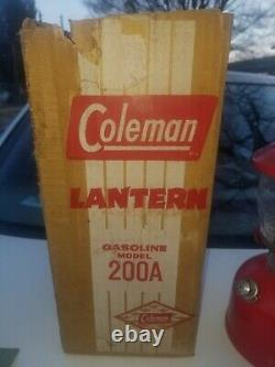 Vintage Coleman 200 A Red Lantern Marked T 60 On Base Never Used