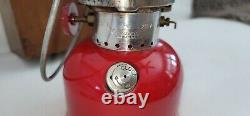 Vintage Coleman 200a Bright Red Lantern With Hardwood Case 1964 100% Original @@