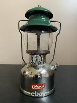 Vintage-Coleman 202 Lantern-w Pyrex Globe-(3/1957)-THE SUNSHINE OF THE NIGHT
