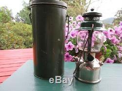 Vintage Coleman 242B Green Chrome Lantern with Handy Pail