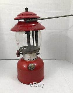 Vintage Coleman Camping Lamp Model 200A Red Lantern With Gold Clamshell Case