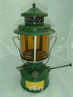 Vintage Coleman Lantern 1945 US Single Mantel Used with Amber Glass