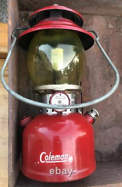 Vintage Coleman Lantern 200A Red Camping Light All Original With Pyrex Globe 3/63