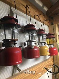 Vintage Coleman Lantern 200a Lot Of 5 Gold/ Red