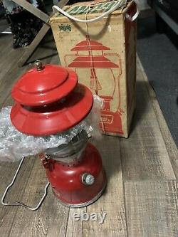 Vintage Coleman Model 200A195 Gas Lantern Red Single Mantle with Box and Papers