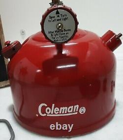 Vintage Coleman RED Lantern 3/1963 200a195 Red WithBox & paperwork ORIGINAL NICE
